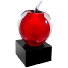 NEW  Red and Clear Glass Apple with Black Base